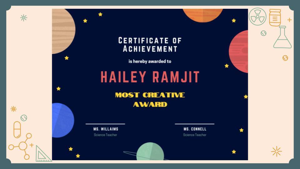 Certificate of Achievement- Hailey Ramjit, Most Creative Award