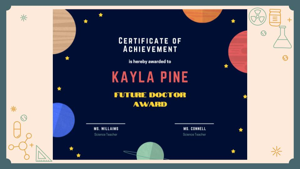 Certificate of Achievement- Kayla Pine, Future Doctor Award
