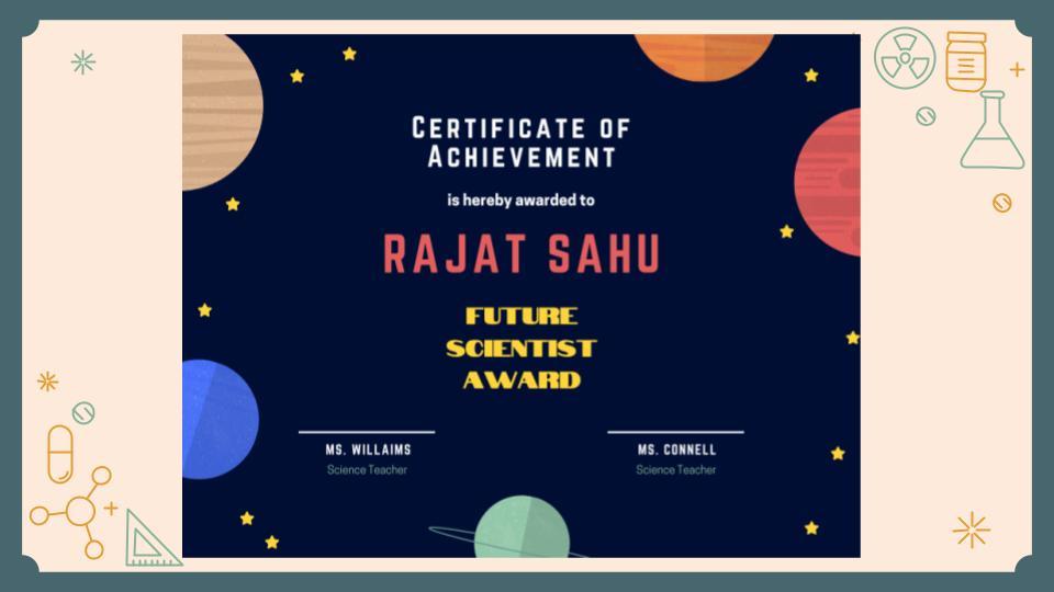 Certificate of Achievement- Rajat Sahu, Future Scientist Award