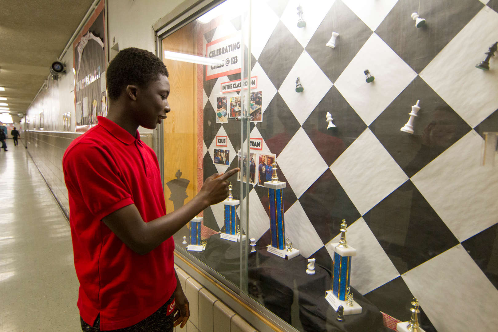 Chess player showing trophy