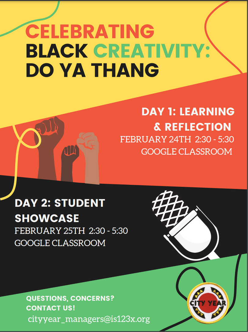 Event poster for Black History Month in English.