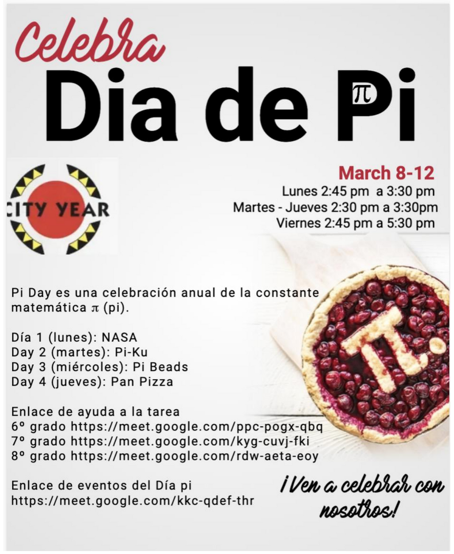 Event poster for Pi Day in Spanish.