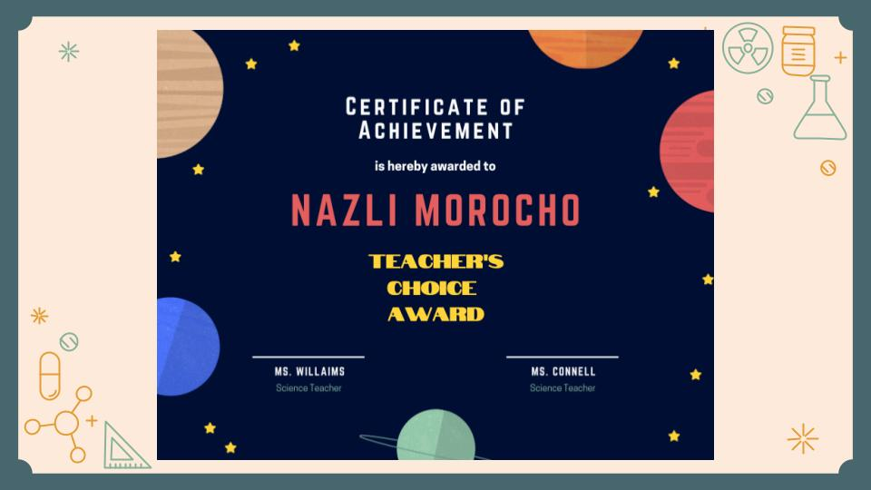 Certificate of Achievement- Nazli Morocho, Teacher's Choice Award