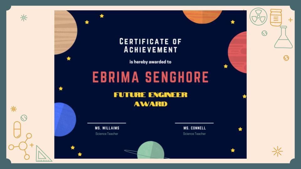 Certificate of Achievement- Ebrima Senghore, Future Engineer Award