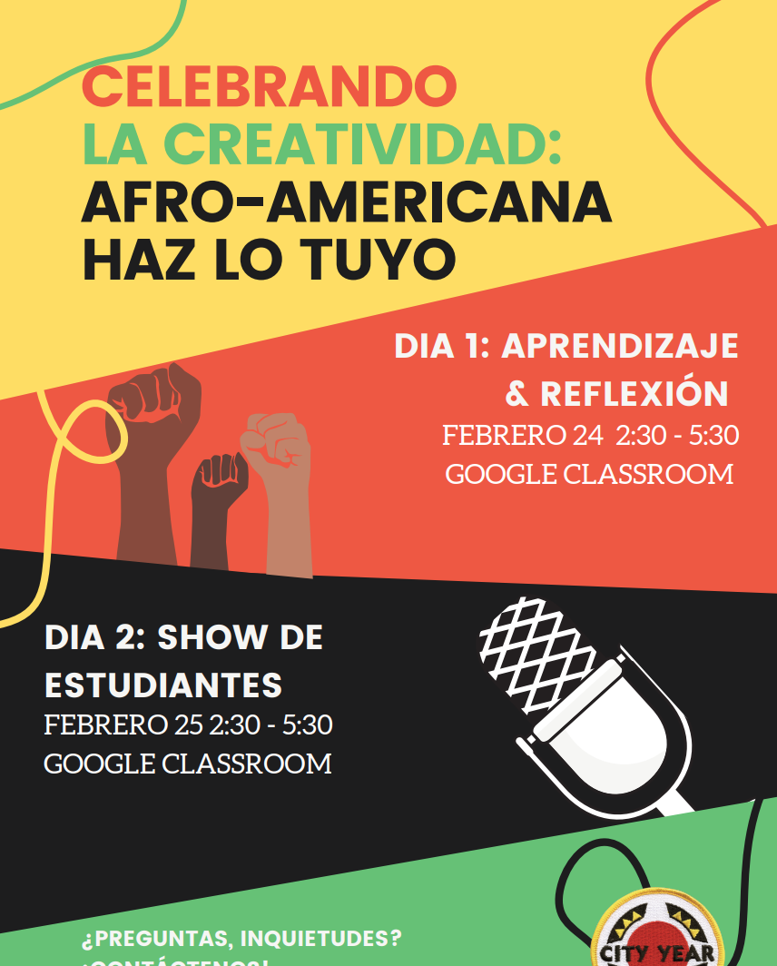 Event poster for Black History Month in Spanish.