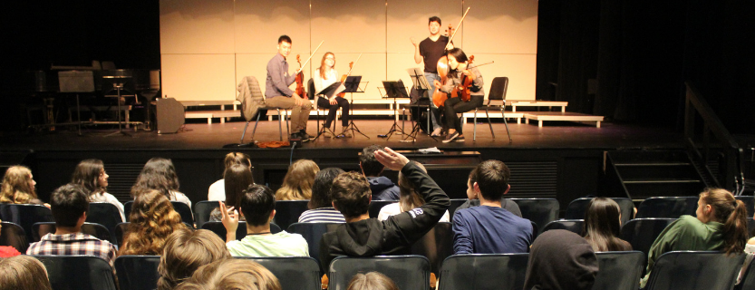 Music students enjoyed an interactive teaching performance with the Omer Quartet, as well as small group mentoring.
