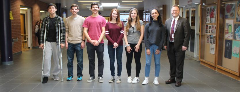 2019 National Merit Finalists: Shu-Nan Chang, Jacob Tabs, Thomas Feinstein, Abigail Wilson, Fayth Wisehart, and Ruby Potash, and Dr. Steven Siciliano.