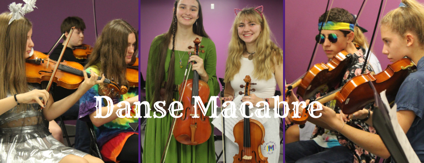 "The Symphonic Orchestra performed ""Danse Macabre"" by Camille Saint-Saëns in the cafeteria."