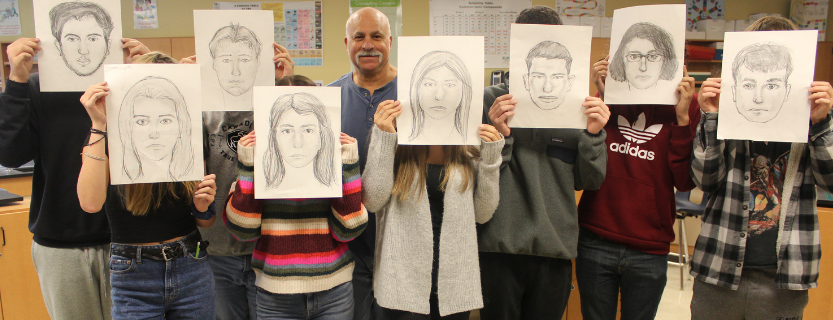 Forensic Science students created composite sketches of themselves with Detective Mancusi, a retired NYPD  forensic artist.