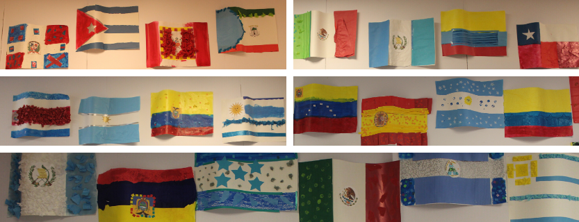 Students' interpretive flags are a beautiful art enrichment to their study of world languages.