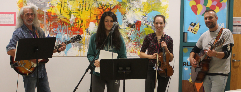 """Students and teachers """"Rock the Halls"""" on Friday mornings at John Jay Middle School."""
