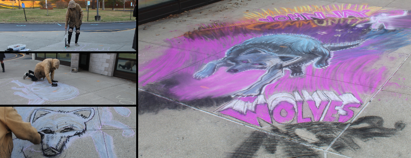 """The """"Katonah Chalker,"""" a surprise guest to the Art Club, created a mural in front of students' eyes!"""