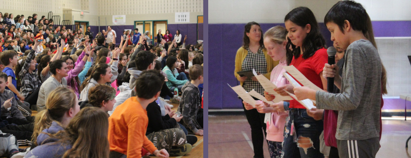 Students experienced the connection between mood and music at a live-art assembly.