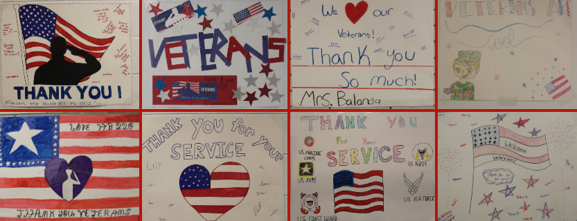 Welcome posters for Veterans Day Assembly