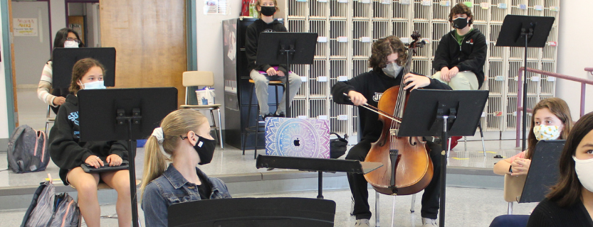 The orchestra has a Master Class with the Callisto Quartet!