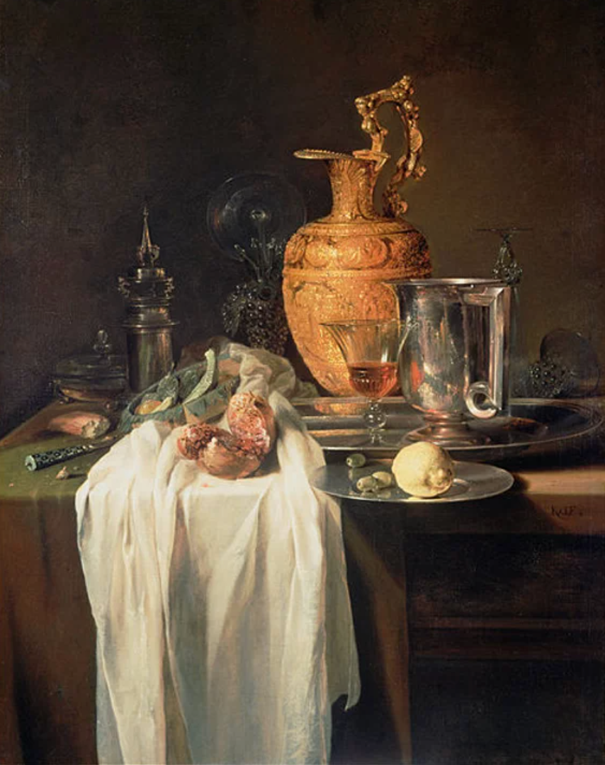 Still Life with Ewer, Vessels, and Pomegranate (Kalf, 1646)