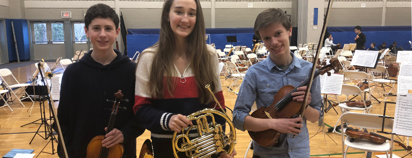 John Jay at the prestigious All-County Music Festival! Lawrence Martin (9th grade, viola), Victoria Fenton (9th grade, French horn), and Joseph Klettner (8th grade, violin).