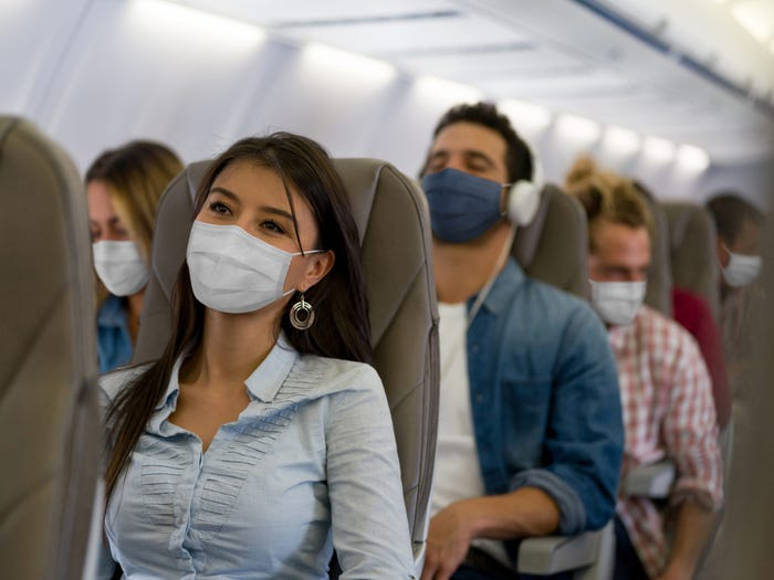 Inside an airplane during the pandemic