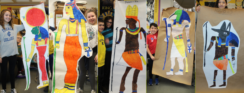 Team Excelsior researched and created life size informational posters about the top 10 Egyptian gods.