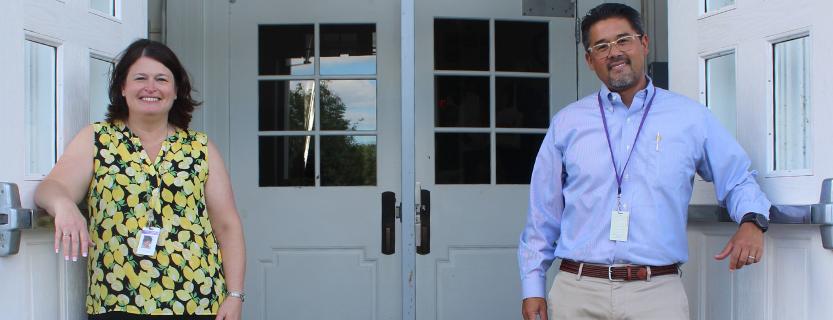 """Welcome back!"" - Principal Cristy Harris and Assistant Principal Kweon Stambaugh"
