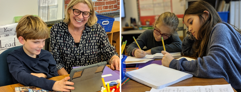 Fourth-graders shape their reflections on art with poet-educator Pam Hart.