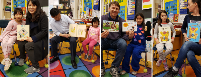 Parents share books in their native language--Czech, Korean, Hebrew, and Chinese--during PARP!