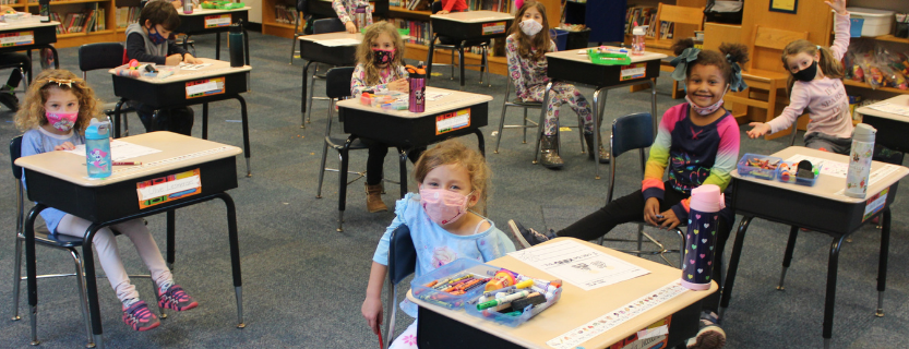"Kindergarteners cap their study of  the letters ""P"" and ""J"" with Pajama Day!"