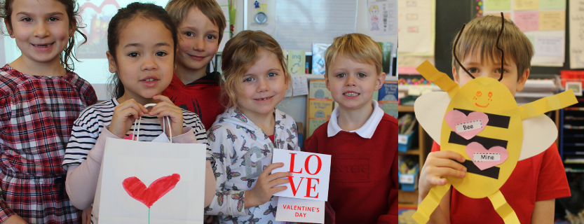 First graders celebrate valentines day.