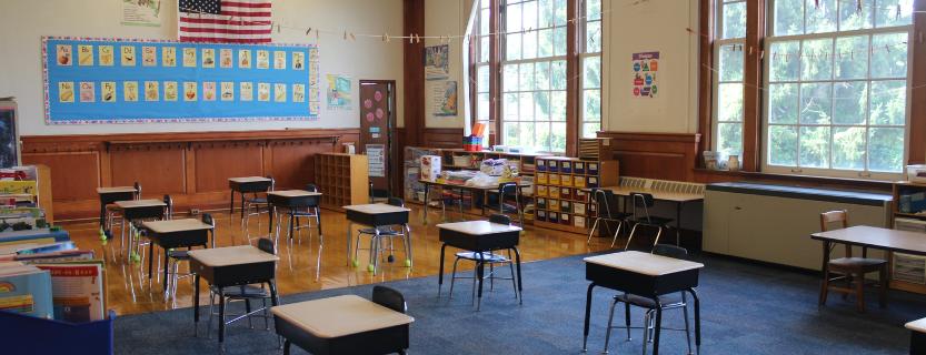 socially distanced classroom.