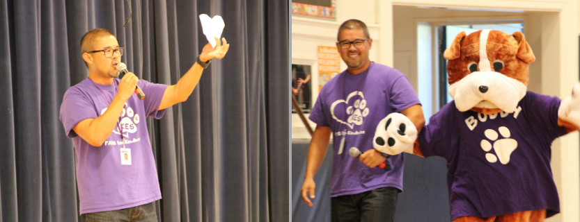 Assistant Principal Kweon Stambaugh uses a wrinkled heart to remind students to be kind to others. He also escorts Buddy into the Sharing Assembly!