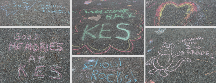 """The day before school started, families gathered to """"Chalk the Walk,"""" filling the pavement with good wishes."""