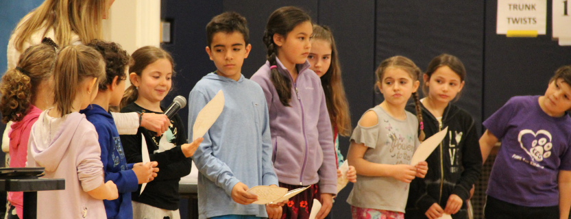 Katonah Elementary students share poetry at an all-school Sharing Assembly for National Poetry Month.
