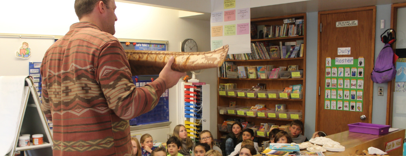 Storyteller James Bruchac informs fourth graders' study of NYS.