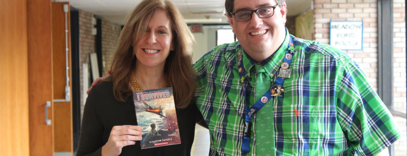 Lauren Tarshis, author of the I Survived series, with Librarian Nick Grasso.