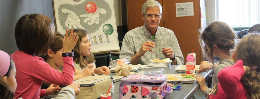 Visiting poetry-educator Ted Scheu talked favorite books and authors over lunch with second graders.