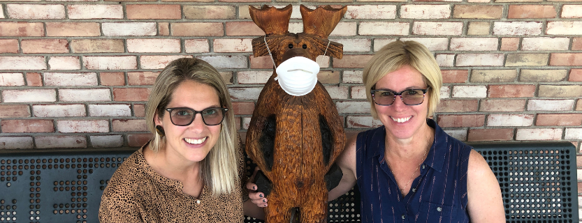 Principal Ashlyn Field, Max the Moose and Assistant Principal Dawn Pomeroy