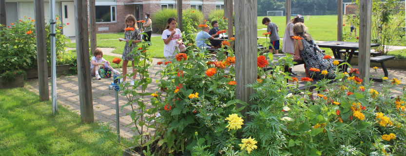 Students enjoy Meadow Pond's lovely outdoor spaces.