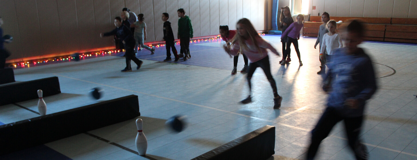 Night bowling--compete with party lights and music--is a favorite Physical Education activity!