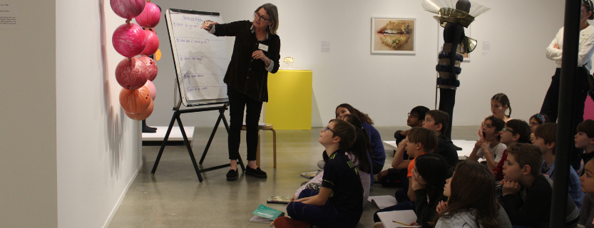 Fourth graders work with poet-in-residence Pam Hart at the Katonah Museum of Art.