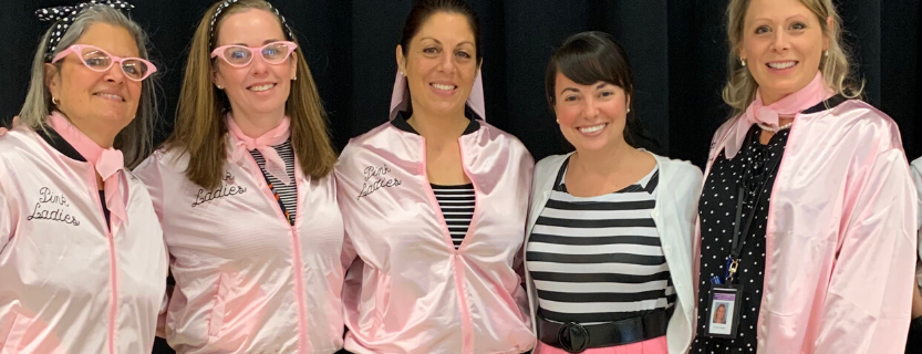 First grade teachers brought a fifties flare to the all-grade celebration of fifty fabulous days of school!