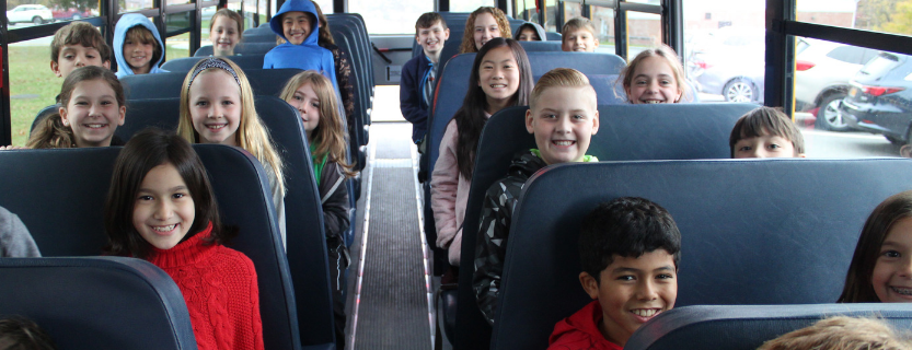Students review best practices during National School Bus Safety Week.
