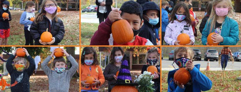 Kindergarteners enjoy a pumpkin patch at school! Thank you, IMES PTO!