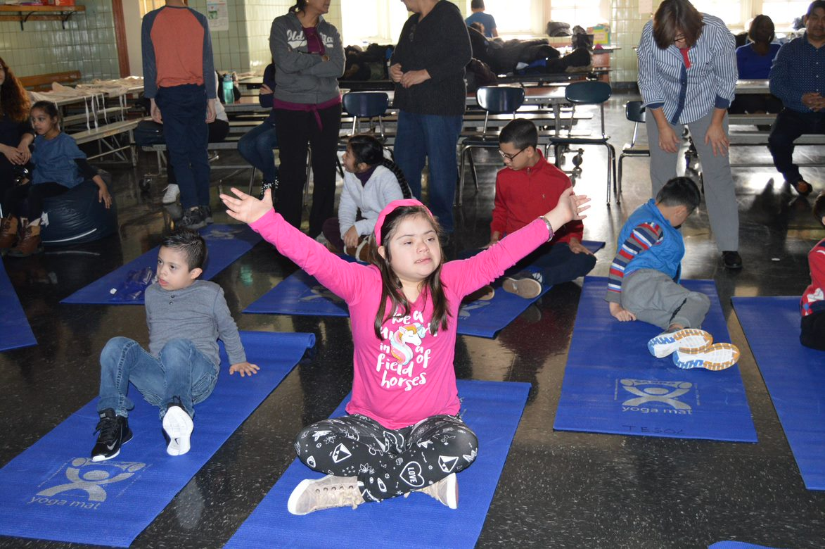 Students practicing Yoga at our Title III Program 2018-19