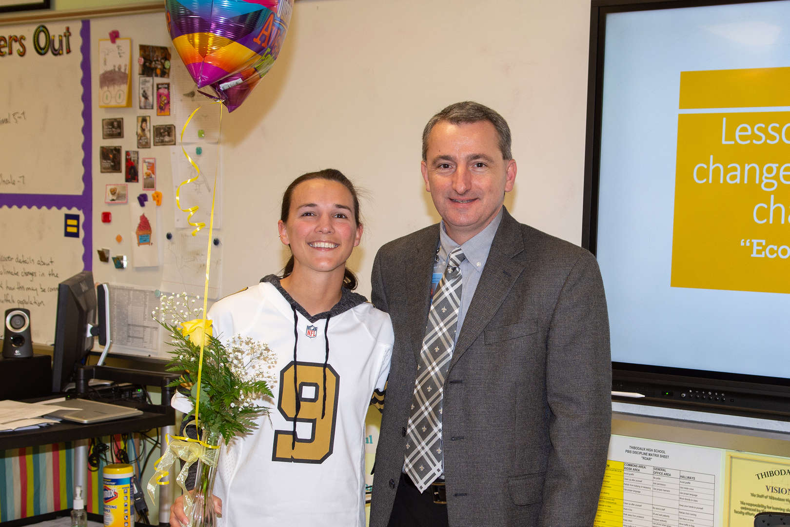 CONGRATULATIONS Ms. Legendre:  Presented by Dr. Voiron today: LAFOURCHE PARISH HIGH SCHOOL TEACHER OF THE YEAR!