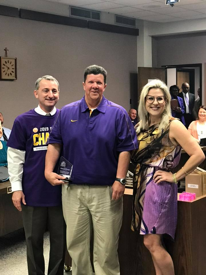 "Congratulations to Jerry  ""J-Rock"" Blackwell for THS support person of the year and LAFOURCHE Parish School District High School Support Person of the Year!!"