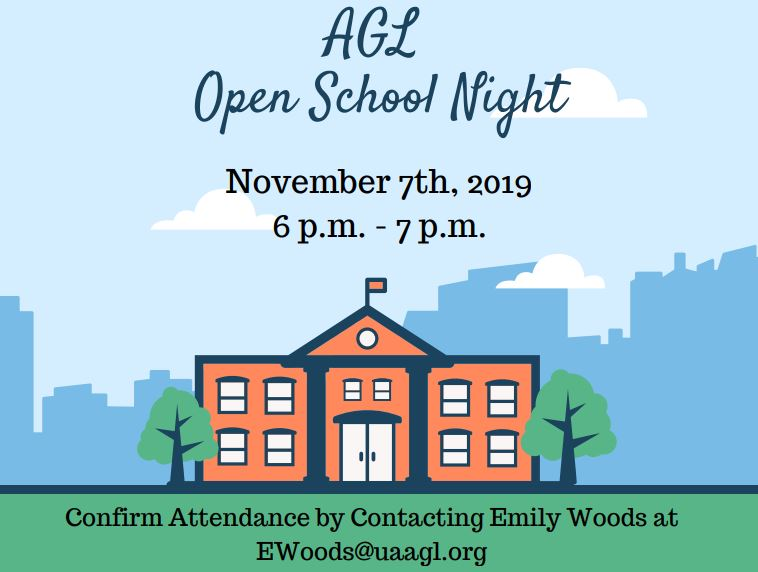 AGL Open School Night on November 7th, 2019 from 6 p.m. to 7 p.m.