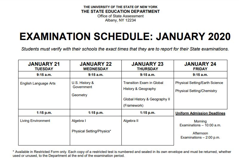 Department of Education January Regents Schedule