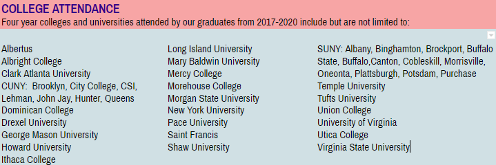 List of colleges our students attend