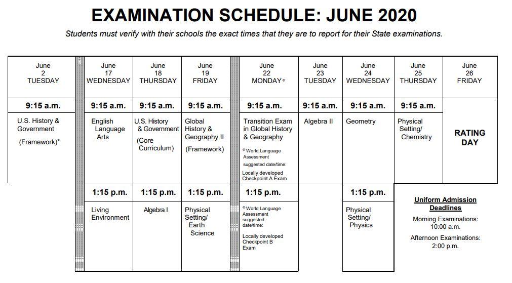 June 2020 Regents Schedule