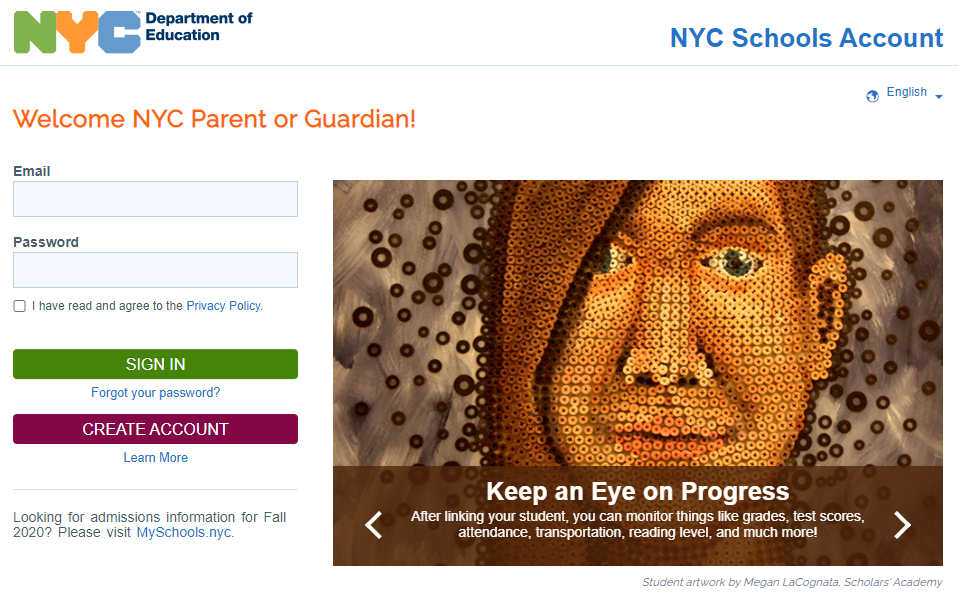 NYC Schools Account Homepage